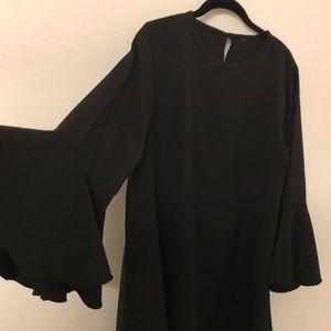 Black Batwing Sleeve Dress